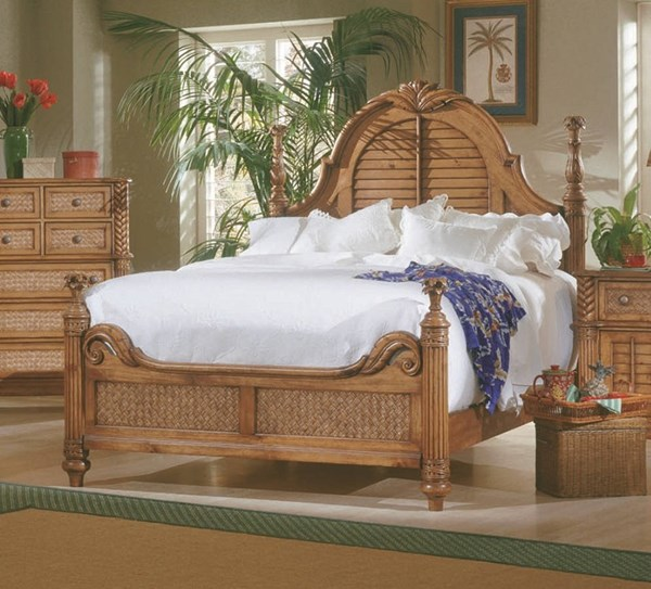 Palm Court Tropical Pine Wood MDF Rattan Queen Low Poster Headboard PRG-1416-60