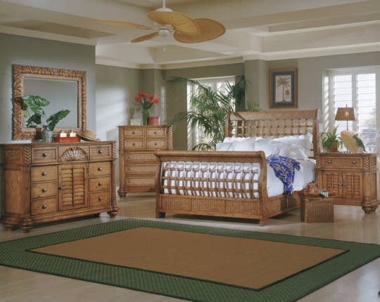 Palm Court Tropical Pine Wood MDF Rattan 2pc Bedroom Sets PRG-1416-BR-S
