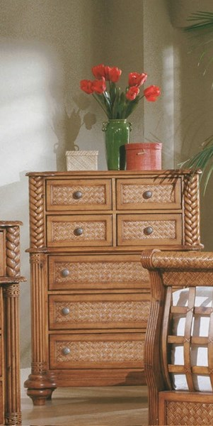 Palm Court Tropical Pine Wood MDF Rattan 7 Drawers Chest PRG-1416-14