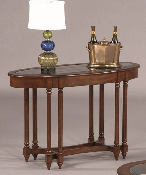 Canton Heights Traditional Dark Berry Rubberwood Glass Oval Sofa Table PRG-44007-09