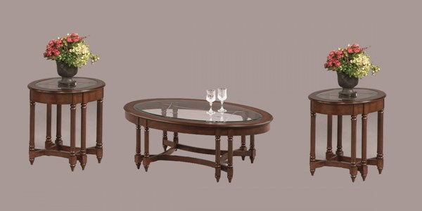 Canton Heights Traditional Berry Rubberwood Glass 3pc Coffee Table Set PRG-44007-OCT-S