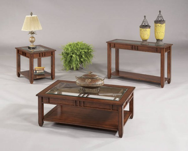 Mission Hills Brown Cherry Rubberwood Glass Coffee Table Set PRG-44052-OCT