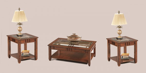 Mission Hills Brown Cherry Rubberwood Glass 3pc Coffee Table Set PRG-44052-OCT-S
