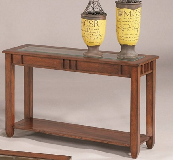 Mission Hills Transitional Brown Cherry Rubberwood Glass Sofa Table PRG-44052-05