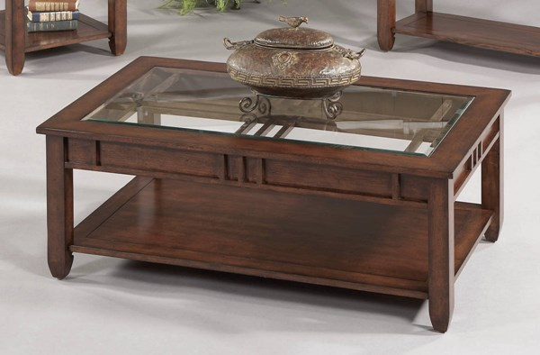 Mission Hills Brown Cherry Rubberwood Glass Cocktail Table PRG-44052-01