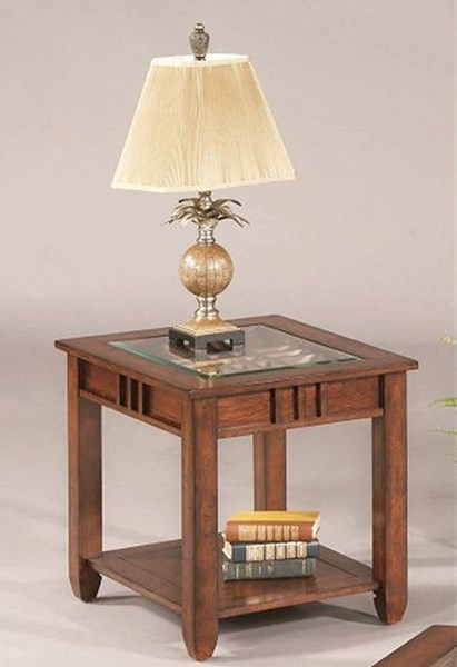 Mission Hills Transitional Brown Cherry Rubberwood Glass End Table PRG-44052-04