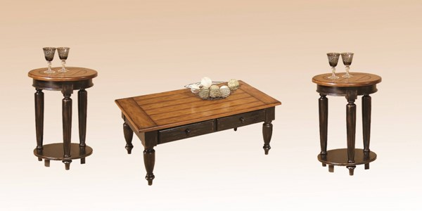 Country Black Oak Solid Wood Round End Table 3pc Coffee Table Set PRG-44542-01-02