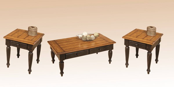 Country Black Oak Solid Wood Square End Table 3pc Coffee Table Set PRG-44542-01-04