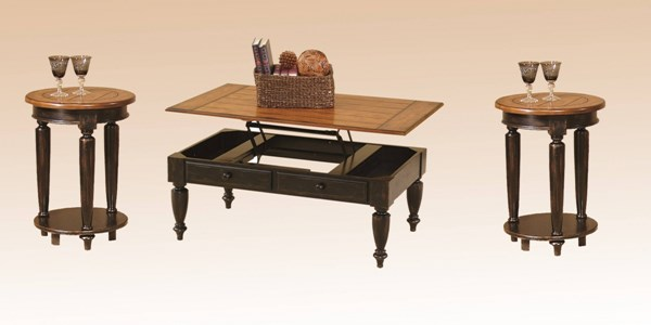 Country Black Oak Solid Wood Lift Top Table 3pc Coffee Table Set PRG-44542-15-02