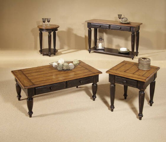 Country Vista Antique Black Oak Solid Wood Coffee Table Set PRG-44542-OCT