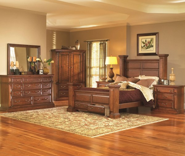 Torreon Rustic Antique Pine Wood 2pc Bedroom Sets PRG-61657-BR-S