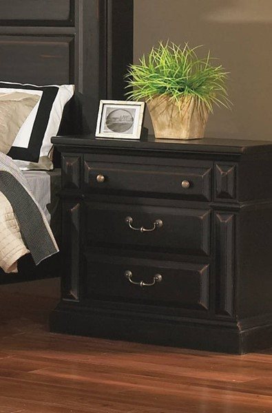 Torreon Rustic Antique Black Wood Nightstand PRG-61658-43