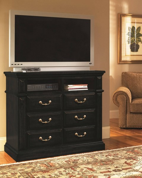 Torreon Rustic Antique Black Wood Media Chest PRG-61658-46