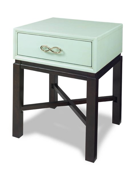 Spencer Contemporary Blue Espresso Wood MDF Chairside Table PRG-A123-69