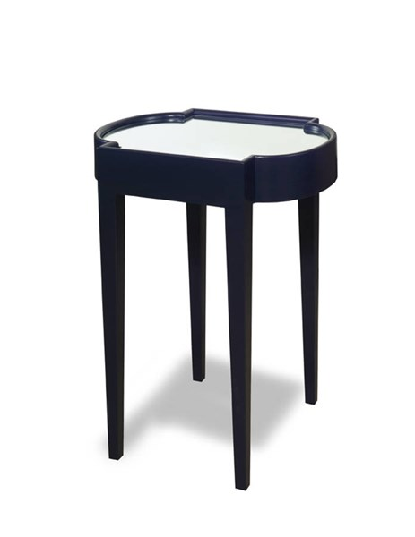Suri Blue Mahogany Solidwood MDF Mirrored Top Chairside Tables PRG-A136-ET-VAR