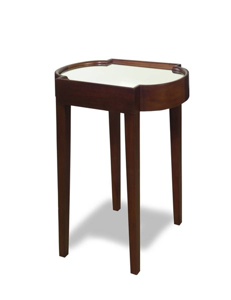 Suri Chocolate Mahogany Solidwood MDF Mirrored Top Chairside Table PRG-A136-68C