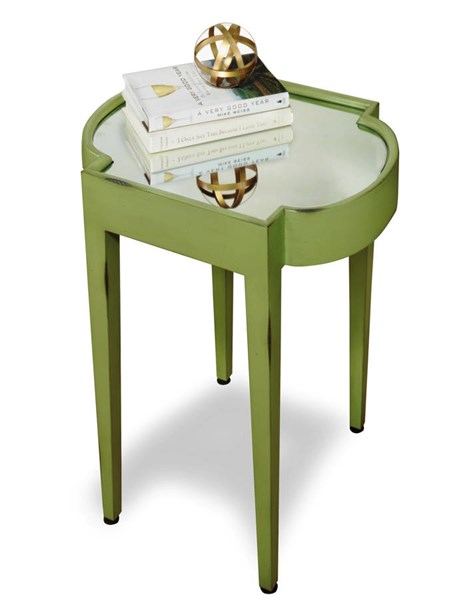 Suri Green Mahogany Solidwood MDF Mirrored Top Chairside Table PRG-A136-68G