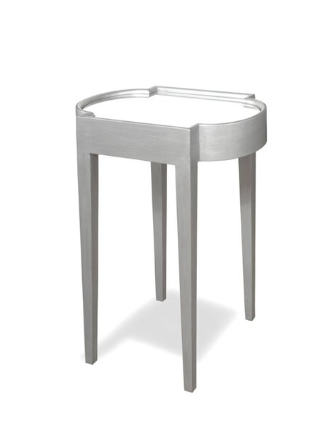 Suri Silver Mahogany Solidwood MDF Mirrored Top Chairside Table PRG-A136-68S