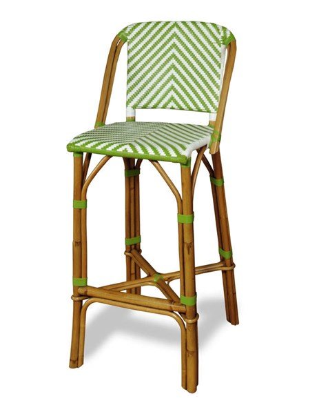 Rum Point Contemporary Green HDPE Synthetic Rattan Bar Stool PRG-A146-42G
