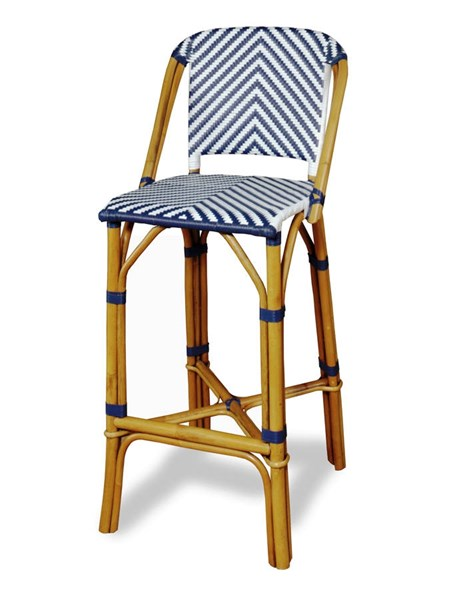 Rum Point Contemporary Navy HDPE Synthetic Rattan Bar Stool PRG-A146-42N