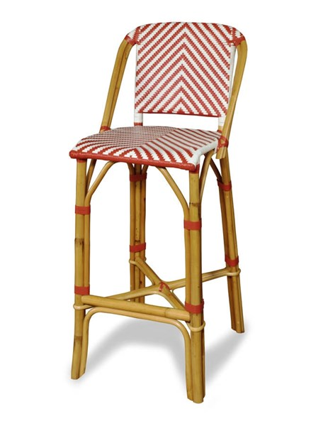 Rum Point Contemporary Red HDPE Synthetic Rattan Bar Stool PRG-A146-42R
