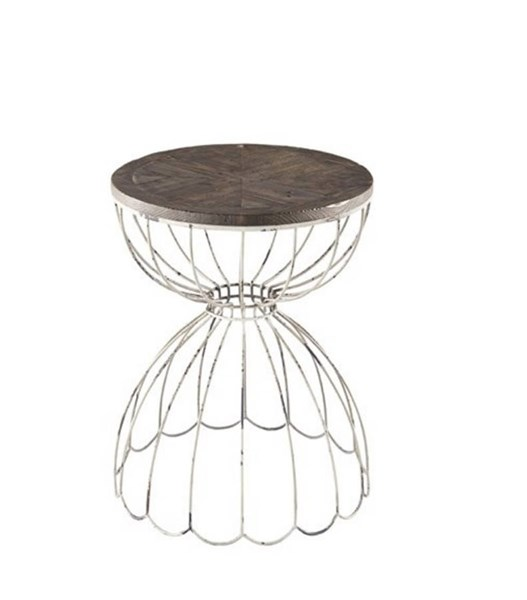 Penelope Casual White Metal Wood Chairside Table PRG-A160-68