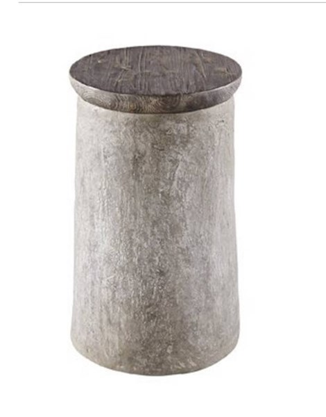 Rocco Casual Concrete Resin Wood Chairside Table PRG-A183-68