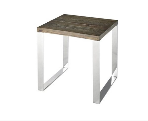 Axel Contemporary Chrome Chargrey Wood Steel End Table PRG-A185-68