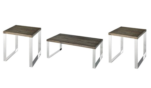 Axel Contemporary Chrome Chargrey Wood Steel 3pc Coffee Table Set PRG-A185-OCT-S