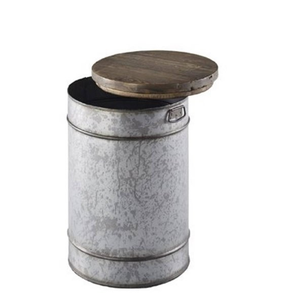 Rebel Casual Zinc Chargrey Metal Wood Chairside Table PRG-A201-68