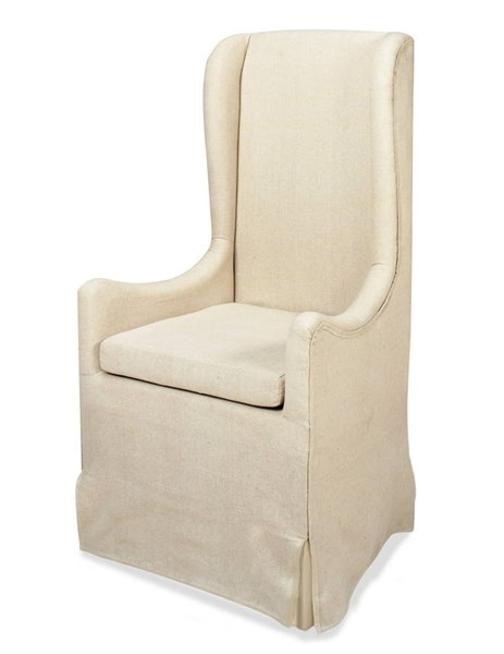 Sienna Traditional Neutral Fabric Wood Skirted Wing Chair PRG-A406-40