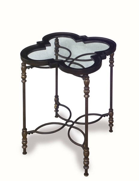 Sarah Traditional Metal Glass Chairside Table PRG-A438-68