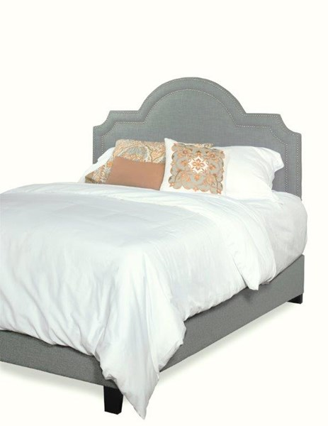 Georgia Sky Blue Fabric MDF Wood King Upholstered Scalloped Bed PRG-A443-96