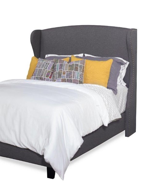 Whitney Charcoal Gray Fabric MDF Wood Queen Upholstered Winged Bed PRG-A444-36