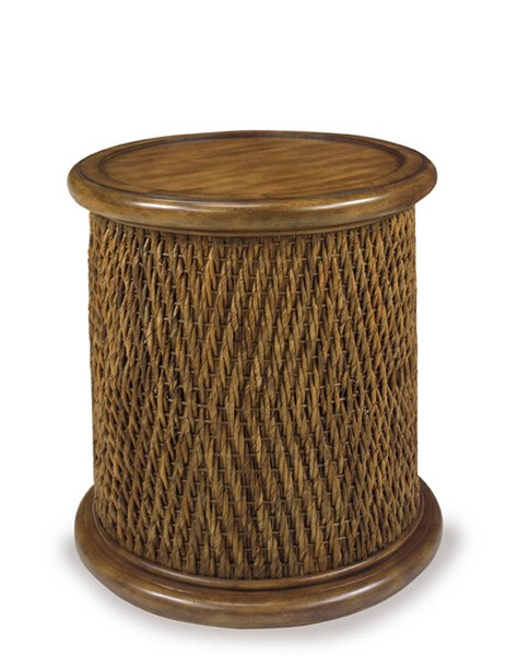 Turk Casual Mahogany MDF Woven Round Drum Table PRG-A717-68