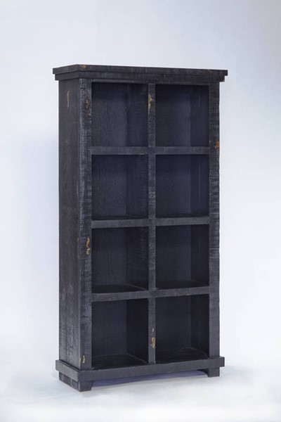 Willow Casual Distressed Black Wood 64 Inch Height Bookcase PRG-A728-64B