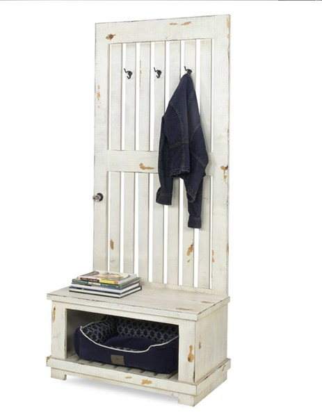 Willow Distressed White Wood Willow Hall Tree PRG-A729-19BW-19TW