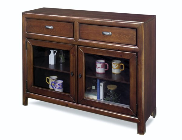 Shelby Casual Java Wood Two Drawer Curio Cabinets PRG-A730-CUCA-VAR