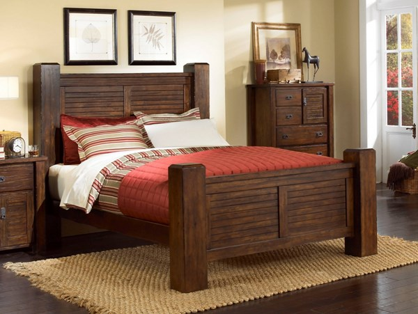 Trestlewood Rustic Mesquite Pine Wood King Post Footboard PRG-P611-95