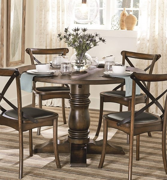 Braxton Transitional Chestnut Oak Solidwood MDF Round Dining Table PRG-D816-13B-13T