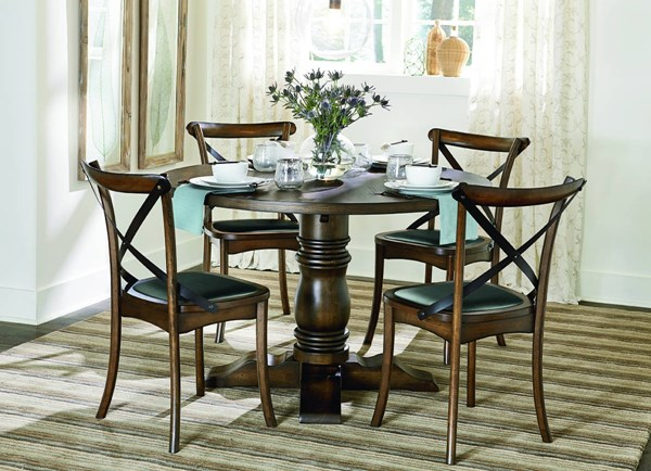 Braxton Transitional Chestnut Oak Solidwood MDF Round Dining Room Set PRG-D816-DR