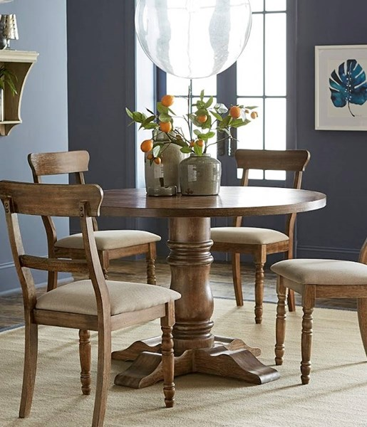 Muse Driftwood Transitional Oak Veneers Round Top Pedestal Base Dining Table PRG-D846-13B-13T