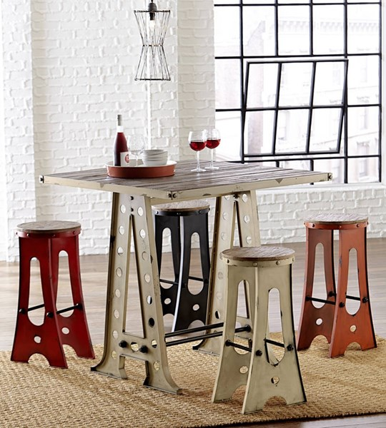 A-Frame Forge Transitional White Wood Metal Zen Pub Table PRG-D848-12W
