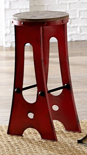 A-Frame Forge Transitional Red Wood Metal 30 Inch Zen Stool PRG-D848-66R
