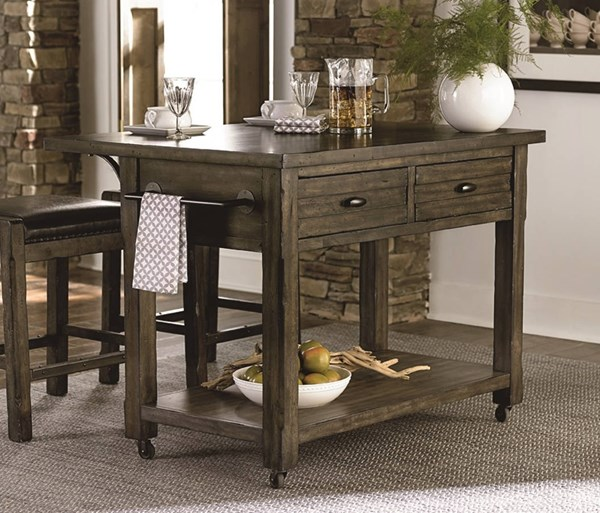 Crossroads Birch Smoke Rubberwood Solid Kitchen Island PRG-D850-45