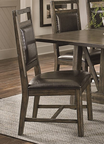 2 Crossroads Birch Smoke Rubberwood Solid Upholstered Dining Chairs PRG-D850-61