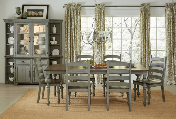 Colonnades Putty Oak Rubberwood Solids MDF Dining Room Set PRG-D880-DR