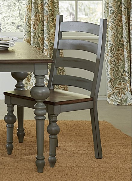 2 Progressive Furniture Colonnades Gray Ladder Back Dining Chairs PRG-D880-62
