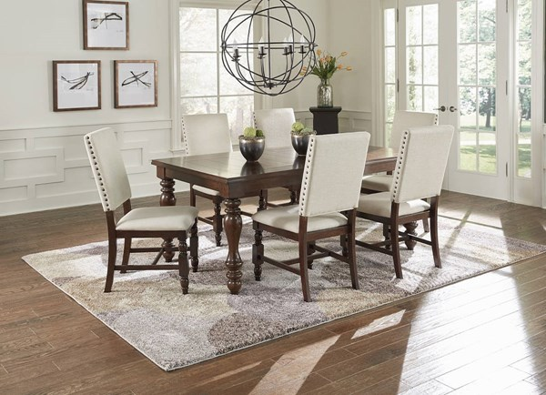 Sanctuary Transitional Cherry Rubberwood Birch MDF Dining Room Set PRG-D890-DR
