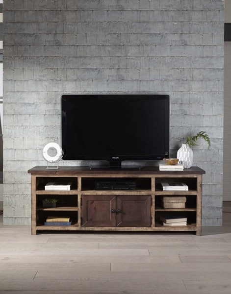 Progressive Furniture Trilogy Light Dark Pine 70 Inch Console PRG-E633-70